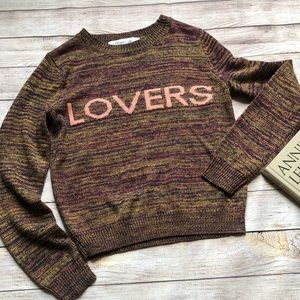 Lovers + Friends spellout sweater LOVERS small